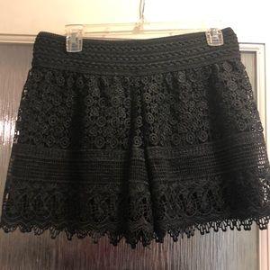 Pants - Stretchy lace black shorts